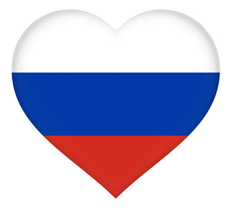 eurasian: Illustration of the national flag of Russia shaped like a heart.