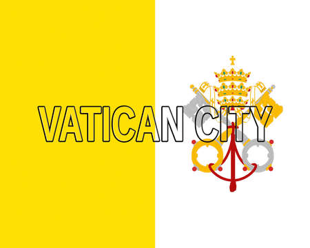 Illustration of the national flag of the Vatican City also called Holy See with the country written on the flag Stock Photo