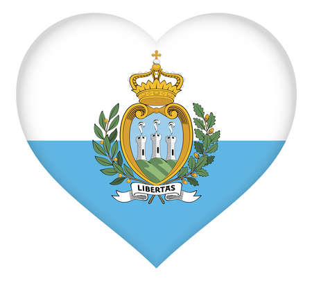 Illustration of the national flag of San Marino shaped like a heart. Stock Photo