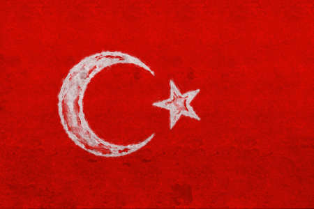 Illustration of the national flag of Turkey with a grunge look Stock Photo