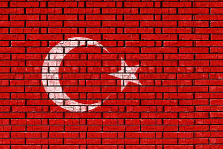 sovereignty: Illustration of the flag of Turkey made to look as if it has been painted onto a wall like graffiti