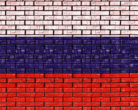 sovereignty: Illustration of the flag of Russia looking as if it has been painted onto a wall like graffiti.