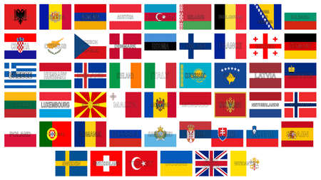 sovereignty: Illustration of all the flags of Europe with the countries names written on the flag. Stock Photo