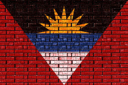 like it: Illustration of the flag of Antigua and Barbuda looking like it is painted onto a wall