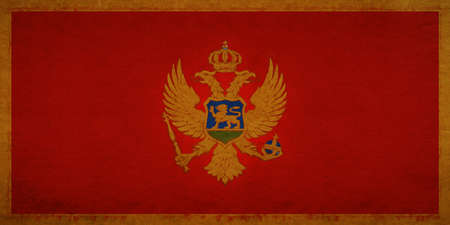 Illustration of the national flag of Montenegro with a grunge look