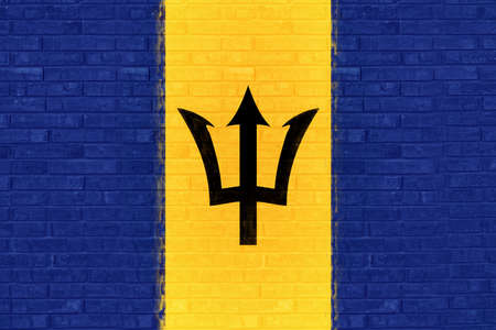 like it: Illustration of the flag of Barbados looking like it has been painted onto a wall Stock Photo
