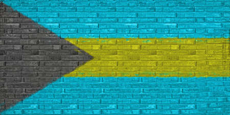 like it: Illustration of the flag of the Bahamas looking like it has been painted onto a wall Stock Photo