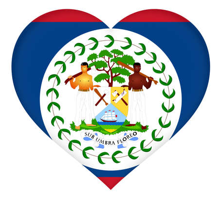 shaped: Illustration of the flag of Belize shaped like a heart