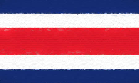 like it: Illustration of the flag of Costa Rica looking like it is painted onto a wall