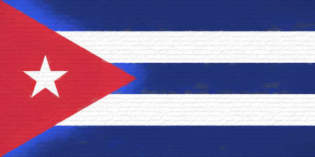like it: Illustration of the flag of Cuba looking like it is painted onto a wall Stock Photo