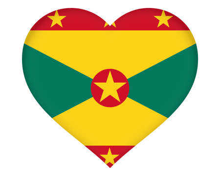 grenada: Illustration of the flag of Grenada shaped like a heart