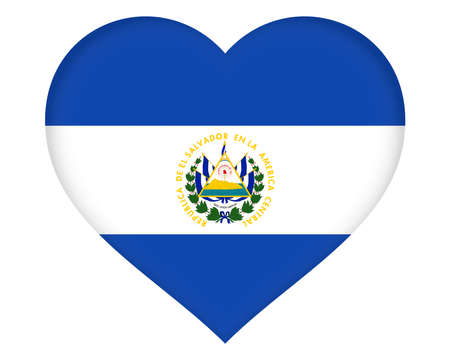 sovereignty: Illustration of the flag of El Salvador shaped like a heart Stock Photo