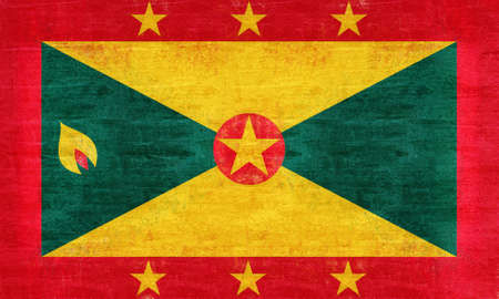 Illustration of the flag of Grenada with a grunge look