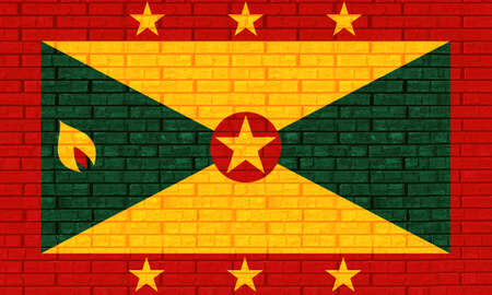 like it: Illustration of the flag of Grenada looking like it has been painted onto a wall
