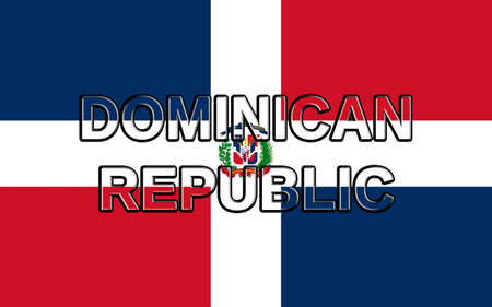 dominican republic: Illustration of the flag of the Dominican Republic with the country written on the flag