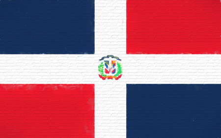 like it: Illustration of the flag of the Dominican Republic looking like it is painted onto a wall