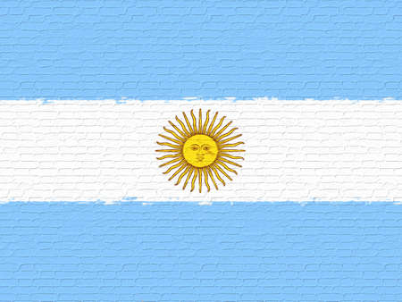 like it: Illustration of the national flag of Argentina looking like it has been painted onto a wall
