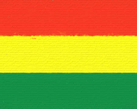 Illustration of the national flag of Bolivia looking like it has been painted onto a brick wall