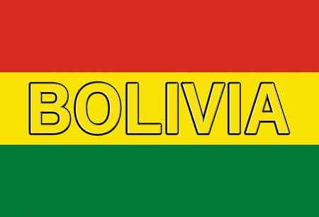Ilustración de la bandera nacional de Bolivia con el país escrito en la bandera