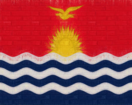like it: Illustration of the flag of Kiribati looking like it has been painted onto a wall Stock Photo