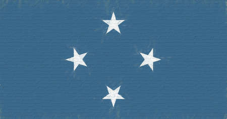 Flag of Micronesia looking like it is painted on a wall
