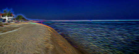 Illustration of a beach with bright neon lines Stock Photo