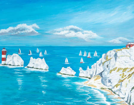 The Needles Isle of Wight by Roy Pedersen           www.roypedersenphotography.com          The Needles is a row of three large pillars of chalk that rise out from the sea near the western end of the Isle of Wight, in the UK,         The Needles form the
