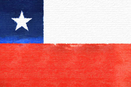 like it: Illustration of the national flag of Chile looking like it has been painted onto a wall.
