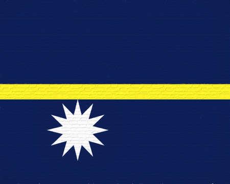 like it: Illustration of the flag of Nauru looking like it has been painted onto a wall like graffiti Stock Photo