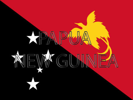 papua new guinea: Illustration of the flag of Papua New Guinea with the country written on the flag