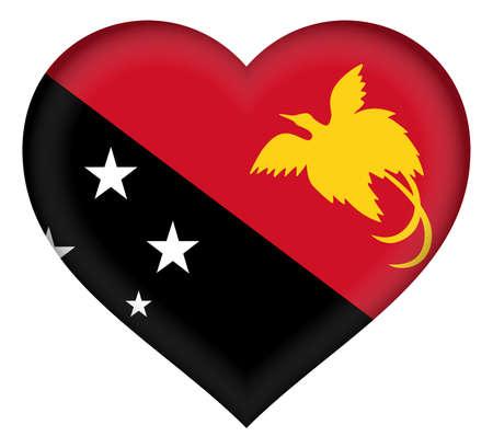 new guinea: Illustrazione della bandiera della Papua Nuova Guinea a forma di cuore