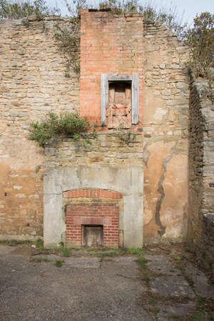 dilapidated wall: Derilict cottage in the deserted village of Tynehame,Dorset,UK Stock Photo