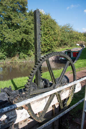 Canal Sluice Wheel on the Tardebigge Locks. Stock Photo