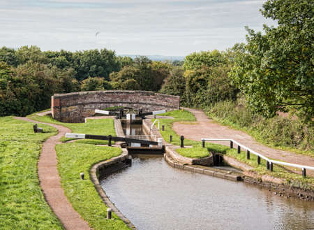 Tardebigge Locks or the Tardebigge Flight is the longest flight of locks in the UK. Stock Photo