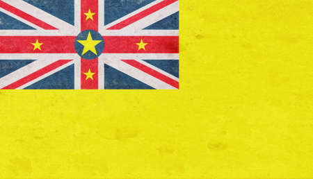 Illustration of the national flag of  Niue with a grunge texture.