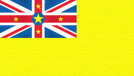 Illustration of the national flag of Niue  looking like it has been painted onto a brickwall.