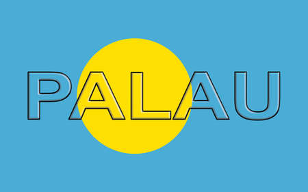 palau: Illustration of the national flag of  Palau with the country written on the flag