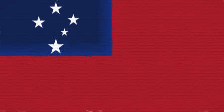 Illustration of the national flag of  Samoa looking like it has been painted onto a brickwall.