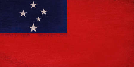 Illustration of the national flag of Samoa with a grunge texture. Stock Photo