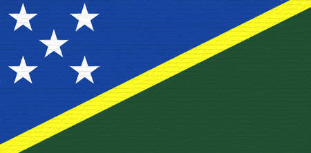 Illustration of the national flag of the Solomon Islands looking like it has been painted onto a brickwall.