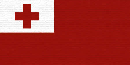 brickwall: Illustration of the national flag of  Tonga looking like it has been painted onto a brickwall.