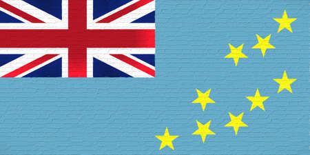 Illustration of the national flag of Tuvalu looking like it has been painted onto a brickwall. Stock Photo