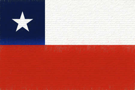 like it: Illustration of the flag of Chile looking like it has been painted onto a wall.