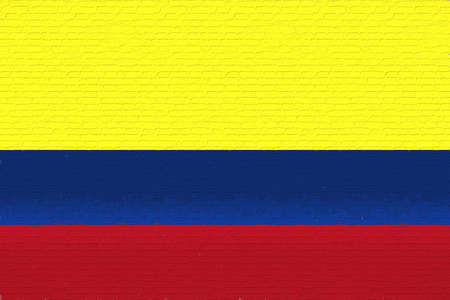 like it: Illustration of the flag of Colombia looking like it has been painted onto a wall.