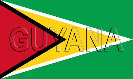 Illustration of the flag of Guyana with the country written on the flag