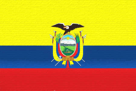like it: Illustration of the flag of Ecuador looking like it is painted onto a brick wall.