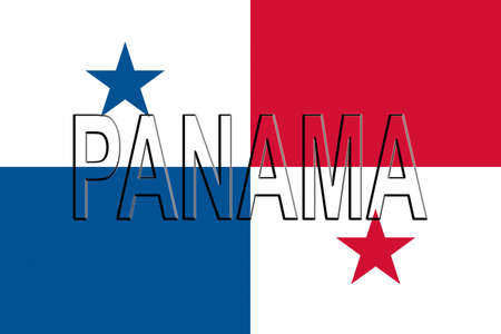 bandera de panama: Illustration of the flag of Panama with the country written on the flag. Foto de archivo