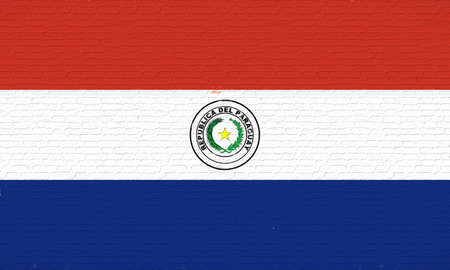 like it: Illustration of the national flag of Paraguay looking like it is painted onto a wall.