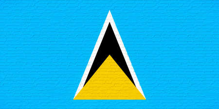 like it: Illustration of the national flag of Saint Lucia looking like it has been painted onto a wall
