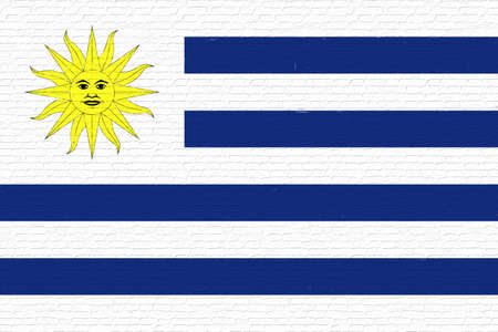Illustration of the national flag of Uruguay looking like it is painted onto a wall.